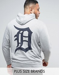 Majestic Plus Detroit Tigers Hoodie With Back Print Gray