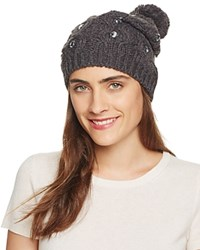 Aqua Embellished Slouchy Hat With Pom Pom Charcoal Smoke Gray Crystals