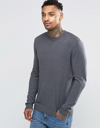 Asos Muscle Fit Cotton Crew Neck Jumper Grey