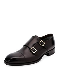 Tom Ford Elkan Double Monk Leather Loafers Black