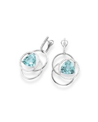 Frederic Sage 18K White Gold Three Ring Trillion Cut Aquamarine And Diamond Earrings