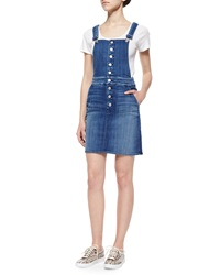 7 For All Mankind Denim Button Front Overall Skirt