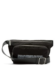 Calvin Klein 205W39nyc Embroidered Leather Trimmed Shell Belt Bag Black White