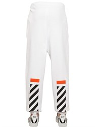Off White Flocked And Printed Cotton Jogging Pants