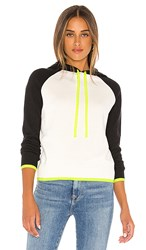 Central Park West Kyoto Hoodie In Ivory Black Green. Ivory And Neon Yellow