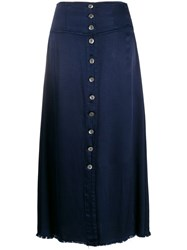 Raquel Allegra Satin Button Front Skirt Blue