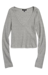 Women's Topshop V Neck Crop Sweater Charcoal