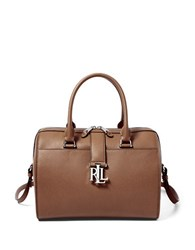 Lauren Ralph Lauren Carrington Barrel Pebbled Leather Satchel Brown