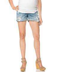 A Pea In The Pod Distressed Maternity Jean Shorts Light Wash
