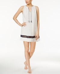 Lucky Brand Crochet Trimmed Printed Cotton Nightgown White Dot