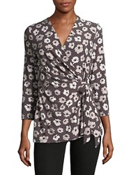 Jones New York Floral Wrap Top Nantucket