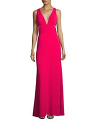Laundry By Shelli Segal Deep V Neck Cutout Gown Raspberry