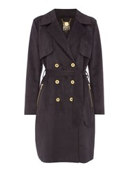 Biba Suedette Zip Pocket Trench Charcoal
