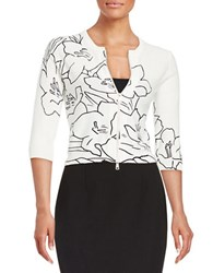 Tracy Reese Floral Zip Front Cardigan Calla Lily