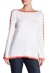 Cullen Contrast Button Bell Sleeve Sweater White