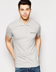 Dkny Polo Shirt Short Sleeve Applique Logo Grey