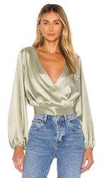 Kendall Kylie Balloon Sleeve Blouse In Green. Jade