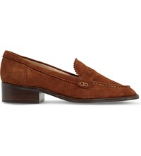 Dune Gandy Zigzag Trim Suede Loafers Dark Tan Suede