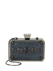 Badgley Mischka Darcy Embellished Leather Minaudiere Pewter