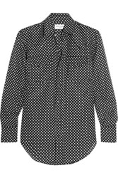 Saint Laurent Polka Dot Cotton And Silk Blend Shirt Black