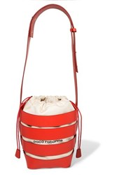 Paco Rabanne Cage Hobo Medium Leather And Canvas Bucket Bag Red