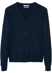 Mango Willy Buttoned Linen Cardigan Navy