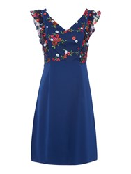 Shubette Crepe Fit And Flare Dress With Embroidered Top Navy