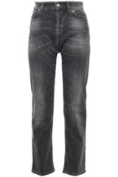 Versus By Versace Woman Embellished Faded High Rise Straight Leg Jeans Gray