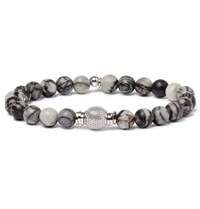 Tateossian Stonehenge Spiderweb Jasper Ruthenium And Rhodium Plated Bead Bracelet Brown