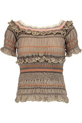 Peter Pilotto Atmos Off The Shoulder Ruffled Cotton Blend Top Multi
