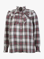 Barbour By Alexachung Bella Check Tie Waist Shirt Red Olive