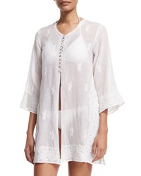 Flora Bella Kuta Button Front Embroidered Tunic Coverup White