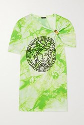 Versace Gathered Printed Tie Dyed Cotton Jersey T Shirt Green