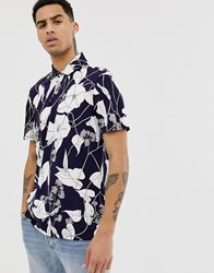 Ted Baker Polo Shirt With Leaf Print Navy