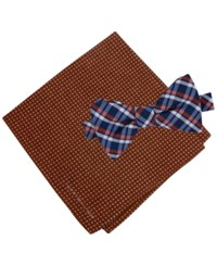 Tommy Hilfiger Men's Grid Pre Tied Bow Tie And Dot Pocket Square Set Orange