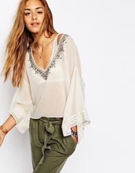 Abercrombie And Fitch Embellished Kimono Gypsy Top Vintagecream