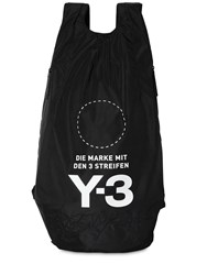 Y 3 Logo Print And Embroidered Nylon Backpack Black