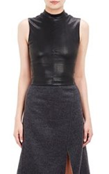 Narciso Rodriguez Lambskin Fitted Crop Top Colorless