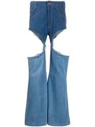 Telfar Wide Leg Jeans With Thigh Cut Outs Blue