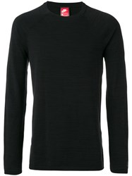 Nike Technical Knit Crew Neck Top Men Cotton Nylon L Black