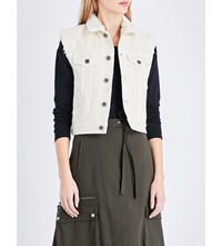 Helmut Lang Faux Shearling Collared Denim Gilet Ivory Stonewash