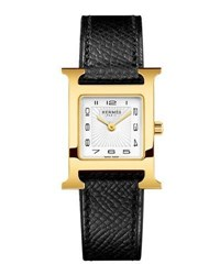 Hermes Heure H Pm Watch With Black Leather Strap