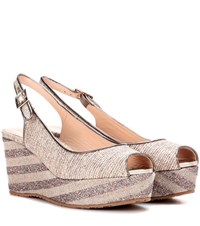 Jimmy Choo Praise Glitter And Canvas Wedge Sandals Beige
