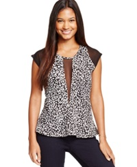 Marilyn Monroe Juniors' Illusion Peplum Top Leopard Print