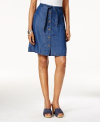 Style And Co Petite Belted Button Front Denim Skirt Only At Macy's Midnight Wash