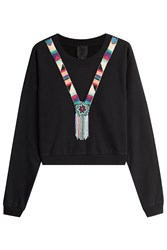 Anna Sui Beaded Cotton Pullover Black