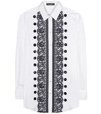 Dolce And Gabbana Lace Trimmed Cotton Shirt White