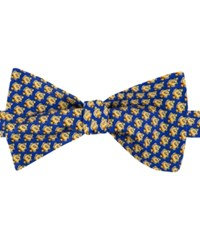 Tommy Hilfiger Men's Fish Print To Tie Bow Tie Yellow