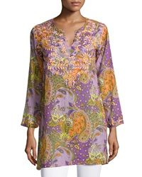 Raj Dali Embroidered Paisley Tunic Purple Orange