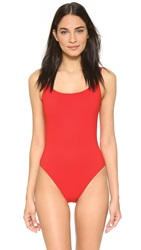 Karla Colletto Skinny Scoop Swimsuit With Low Back Cherry